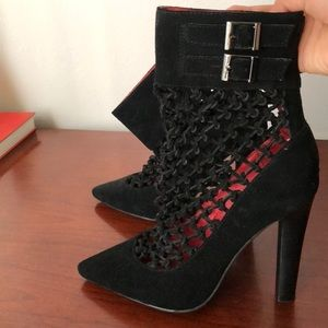 Jeffrey Campbell black lace booties